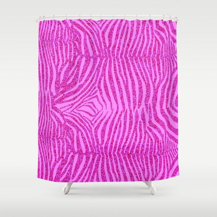 Light Pink Glitter Zebra Print Shower Curtain