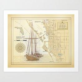"Siesta Key ""vintage inspired"" artistic area map print Art Print"