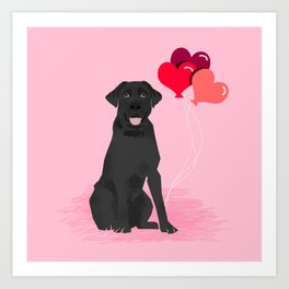 Black Labrador Retriever dog breed valentines day heart love balloons gifts black labs Art Print
