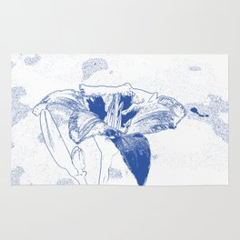 Day Lily Print in Blue Rug