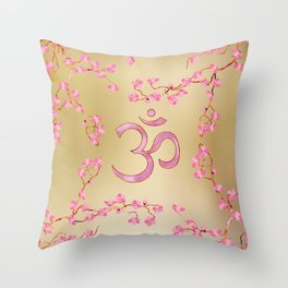 OM symbol  with gentle pastel pink flower tree branches Throw Pillow