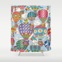 hot air balloon Shower Curtains featuring Hot Air Balloon by Helene Michau