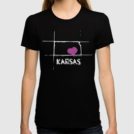 Love Kansas State Sketch USA Art Design T-shirt
