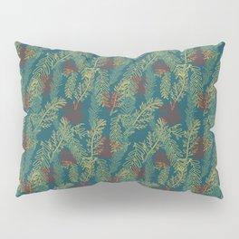 Mixed Seaweed Pattern On Dark Teal Pillow Sham