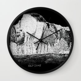 Hangin at Half Dome - White on Black Wall Clock
