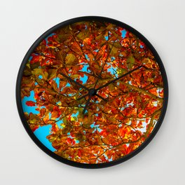 Red Leaves in Blue Wall Clock