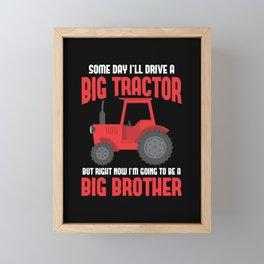 Big Brother Kid Tractor lover Sibling Son Farmer Framed Mini Art Print