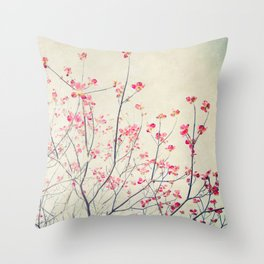 Ruby and Rose Quartz -- Red Pink Dogwood Tree in Flower Throw Pillow