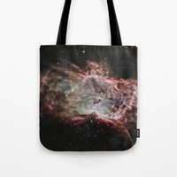 nasa Tote Bags featuring NASA Flame Nebula by Artlala for MSF Doctors Without Borders