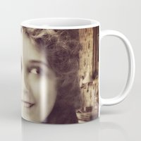 thundercats Mugs featuring Mary Pickford - Vintage Lady with kitten by Augustinet