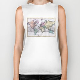 Vintage Map of The World (1780) Biker Tank