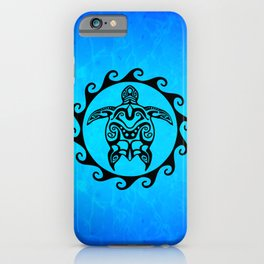 Black Tribal Turtle In Maori Sun Symbol iPhone Case