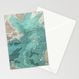 Vintage Green Transatlantic Mapping Stationery Cards