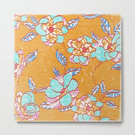 Crayon Bright Happy Floral on Summer Orange Metal Print