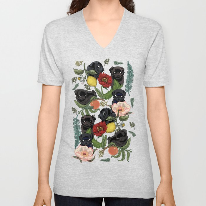 Botanical and Black Pugs Unisex V-Neck