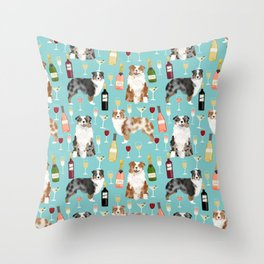Australian Shepherd blue and red merle wine cocktails yappy hour pattern dog breed Throw Pillow