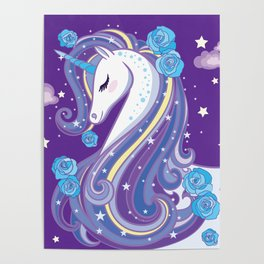 Magical Unicorn in Purple Sky Poster