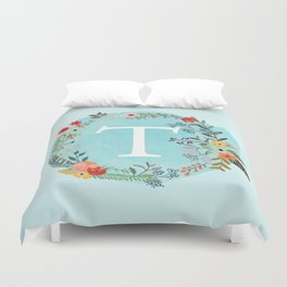 Personalized Monogram Initial Letter T Blue Watercolor Flower Wreath Artwork Duvet Cover
