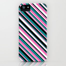 Hot Pink, Mint Cream, Black & Dark Cyan Colored Pattern of Stripes iPhone Case