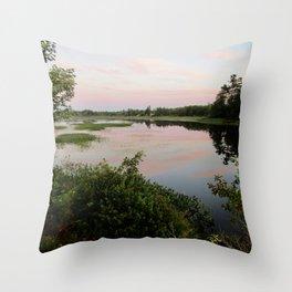 Pennamaquan River at Sunset Throw Pillow