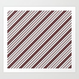 Pantone Red Pear and White Thick and Thin Angled Lines - Diagonal Stripes Art Print