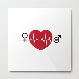 Love hearts EKG Metal Print