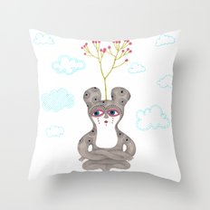 lonely cute creature with rose bush Throw Pillow
