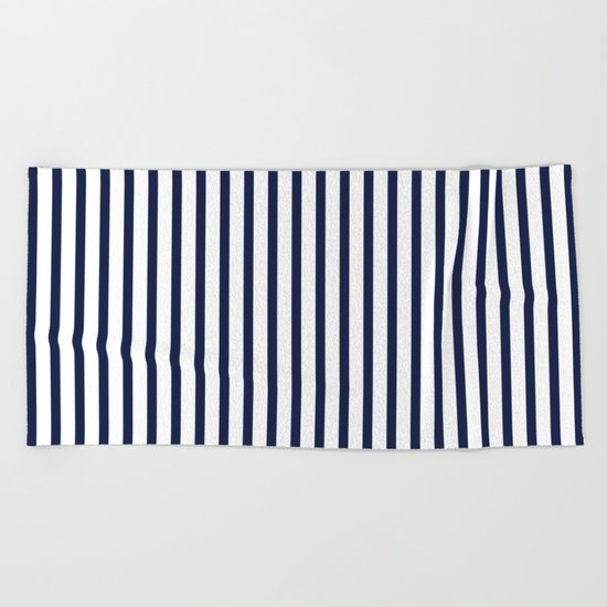Indigo Navy Blue Vertical Stripes Beach Towel