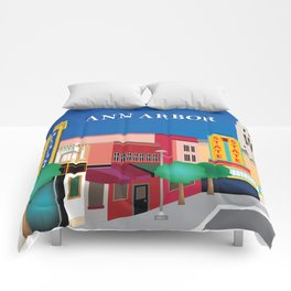 Ann Arbor, Michigan - Skyline Illustration by Loose Petals Comforters