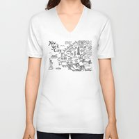 new york map V-neck T-shirts featuring New York City Map by Claire Lordon