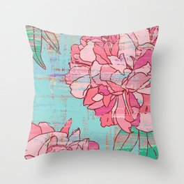 Pink roses, floral print in pastels Throw Pillow