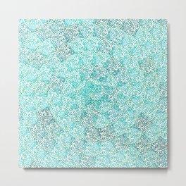 Swirls in a Circle Teal Green Pattern Metal Print