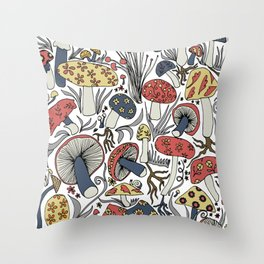 Hand-drawn mushrooms in muted blues, reds and yellows Throw Pillow