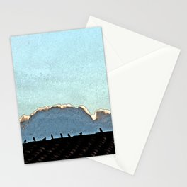 Sparrows on a roof at sunset Stationery Cards
