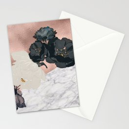 Floral marble rose gold Stationery Cards