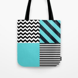 Blue B&W Tote Bag