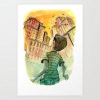 metropolis Art Prints featuring Metropolis by David R. Vallejo