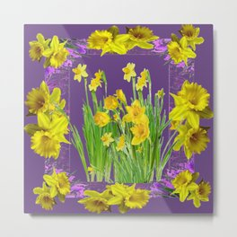 DAFFODIL SPRING GARDEN & PURPLE  DESIGN ART Metal Print