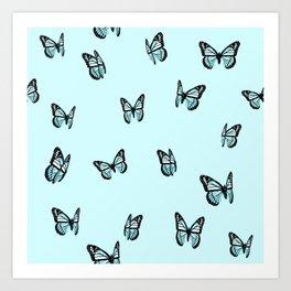 Pastel Blue Butterfly Pattern Art Print