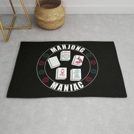 Mahjong Maniac Design On Black Rug