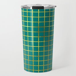 Teal & Gold Grid Travel Mug
