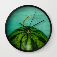 watermelon Wall Clocks featuring Watermelon by Olivia Joy StClaire