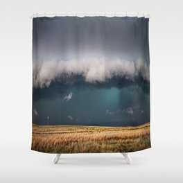 Small - Large Storm Towering Over Windmill in Texas Shower Curtain