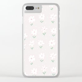 Hand painted blush pink white floral polka dots illustration Clear iPhone Case
