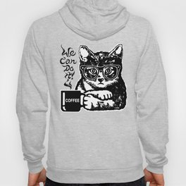 Funny cat motivated by coffee Hoody