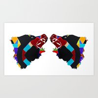 bears Art Prints featuring bears  by Rachel Thornton