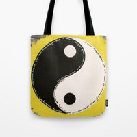 religion Tote Bags featuring Science & Religion by Lady Pai