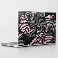 gray pattern Laptop & iPad Skins featuring Abstract Pattern - Gray & Pink by Georgiana Paraschiv