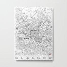 Glasgow Map Line Metal Print