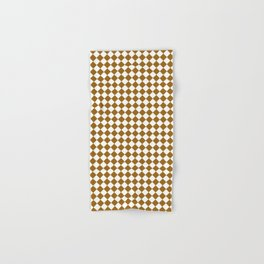 Small Diamonds - White and Golden Brown Hand & Bath Towel